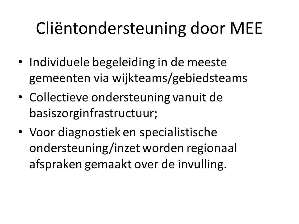 Cliëntondersteuning door MEE Individuele begeleiding in de meeste gemeenten via wijkteams/gebiedsteams Collectieve ondersteuning vanuit de basiszorginfrastructuur; Voor diagnostiek en specialistische ondersteuning/inzet worden regionaal afspraken gemaakt over de invulling.