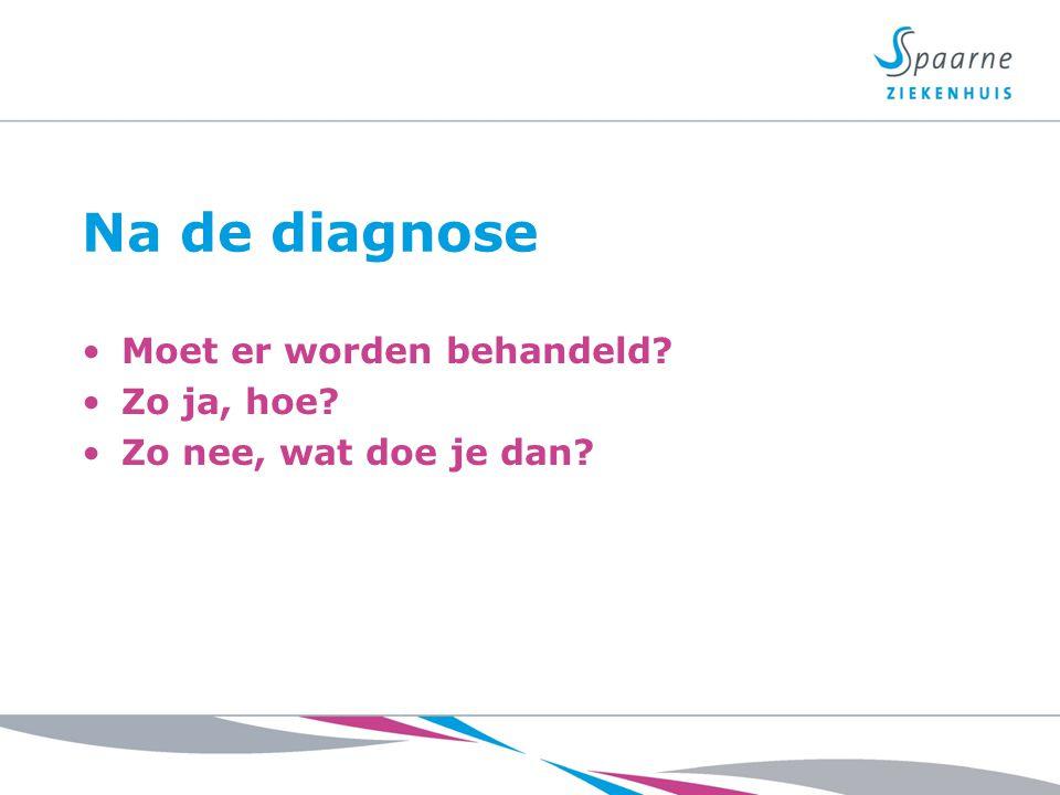 Na de diagnose Moet er worden behandeld? Zo ja, hoe? Zo nee, wat doe je dan?