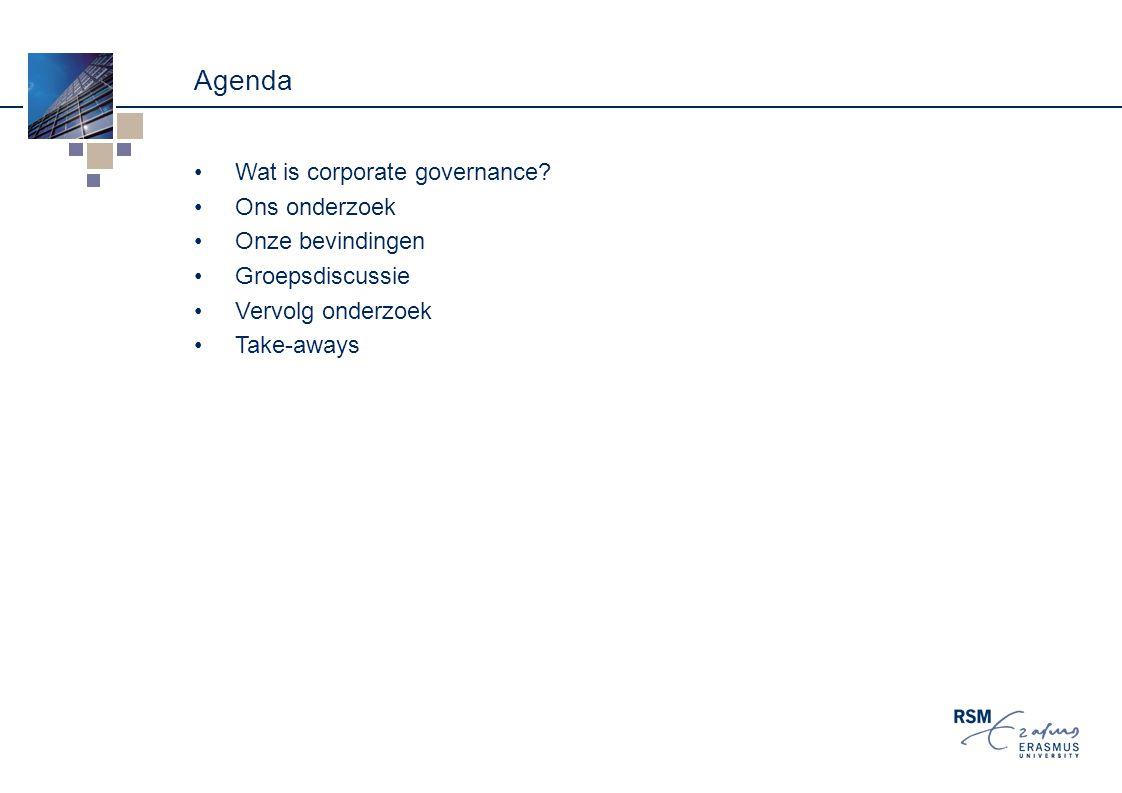 Agenda Wat is corporate governance.