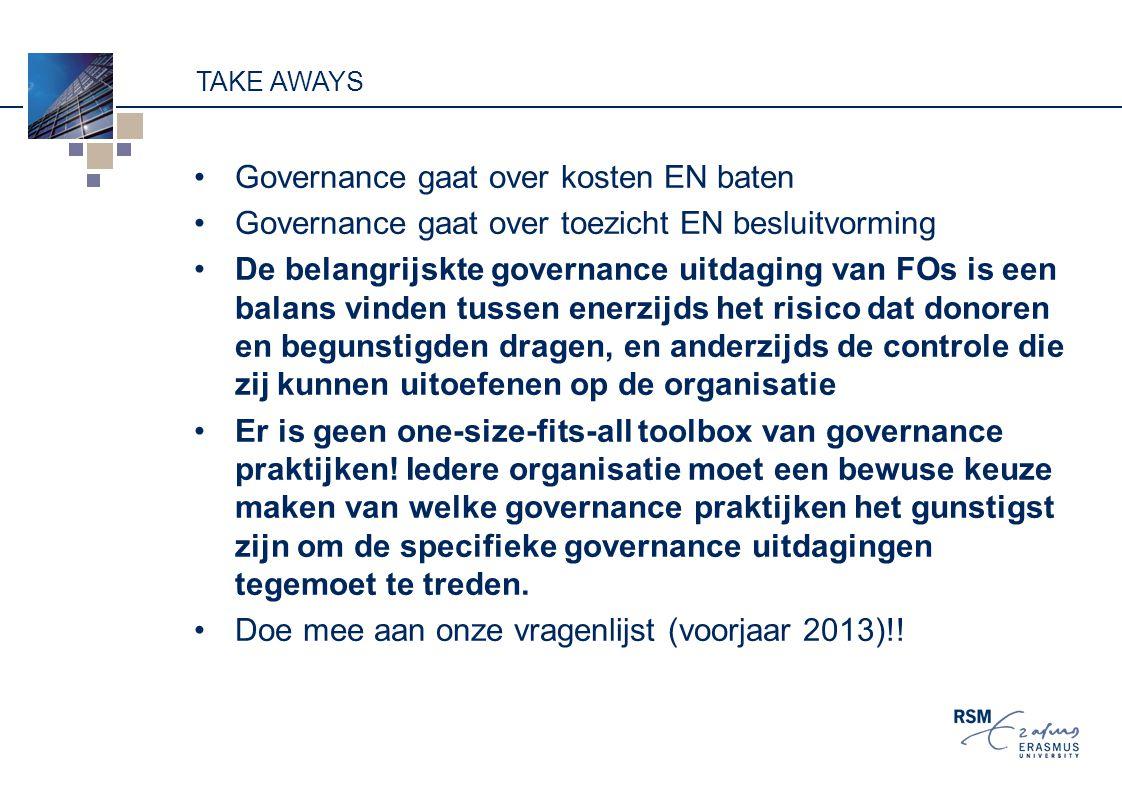 TAKE AWAYS Governance gaat over kosten EN baten Governance gaat over toezicht EN besluitvorming De belangrijskte governance uitdaging van FOs is een balans vinden tussen enerzijds het risico dat donoren en begunstigden dragen, en anderzijds de controle die zij kunnen uitoefenen op de organisatie Er is geen one-size-fits-all toolbox van governance praktijken.