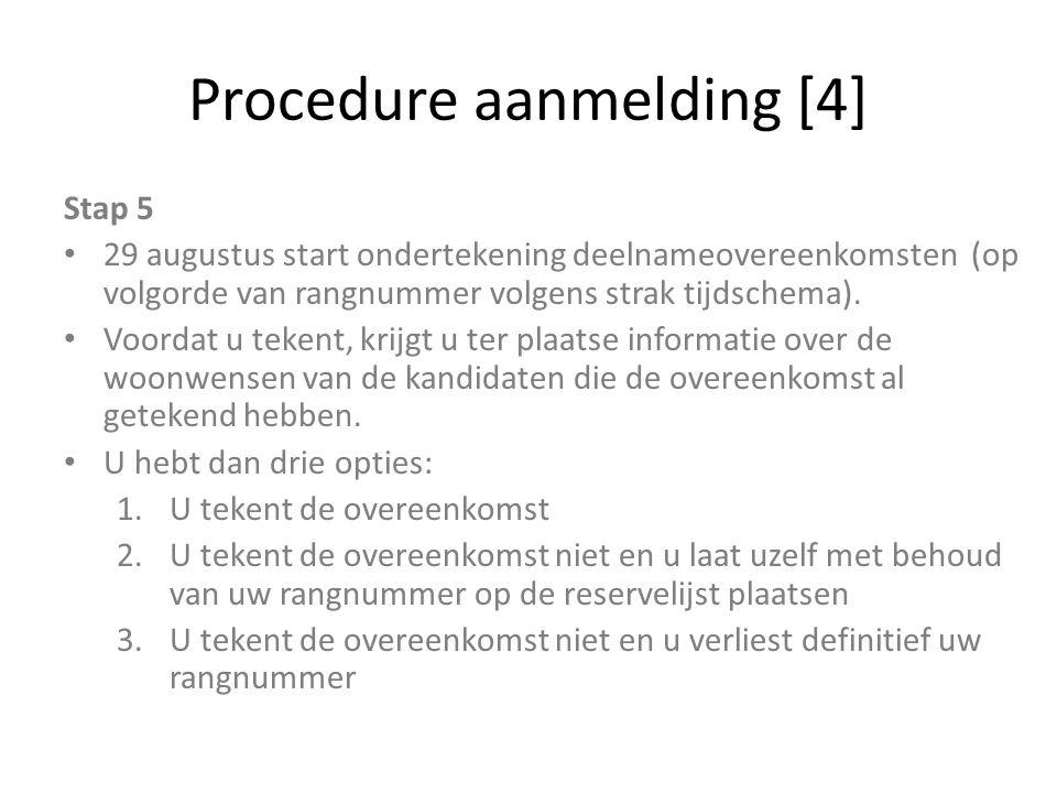 Procedure aanmelding [4] Stap 5 29 augustus start ondertekening deelnameovereenkomsten (op volgorde van rangnummer volgens strak tijdschema). Voordat