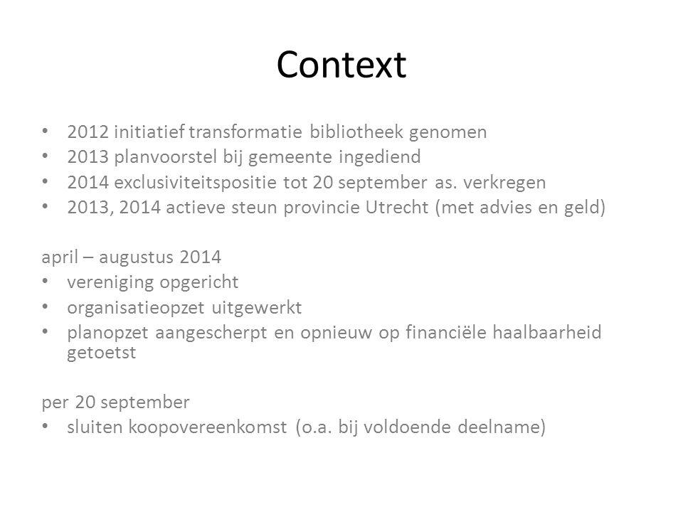 Context 2012 initiatief transformatie bibliotheek genomen 2013 planvoorstel bij gemeente ingediend 2014 exclusiviteitspositie tot 20 september as. ver