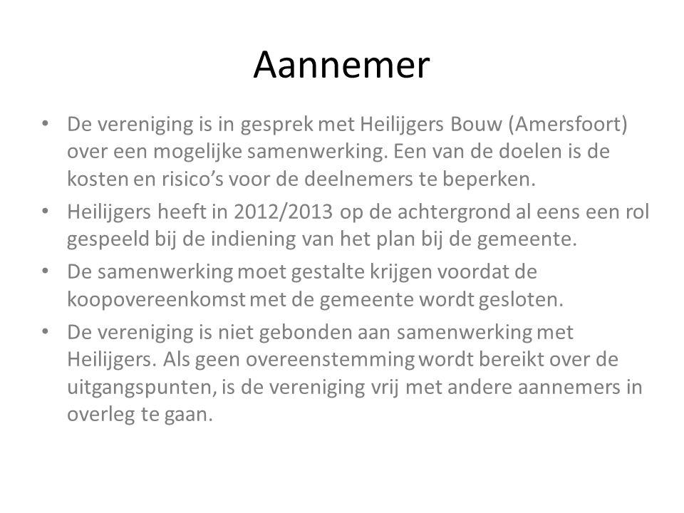 Aannemer De vereniging is in gesprek met Heilijgers Bouw (Amersfoort) over een mogelijke samenwerking. Een van de doelen is de kosten en risico's voor