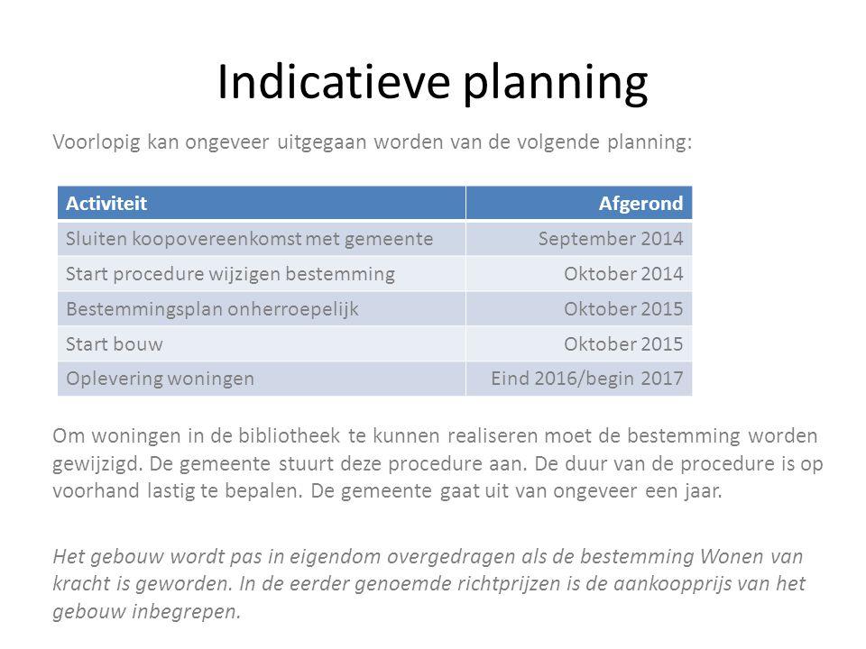 Indicatieve planning Voorlopig kan ongeveer uitgegaan worden van de volgende planning: Om woningen in de bibliotheek te kunnen realiseren moet de best