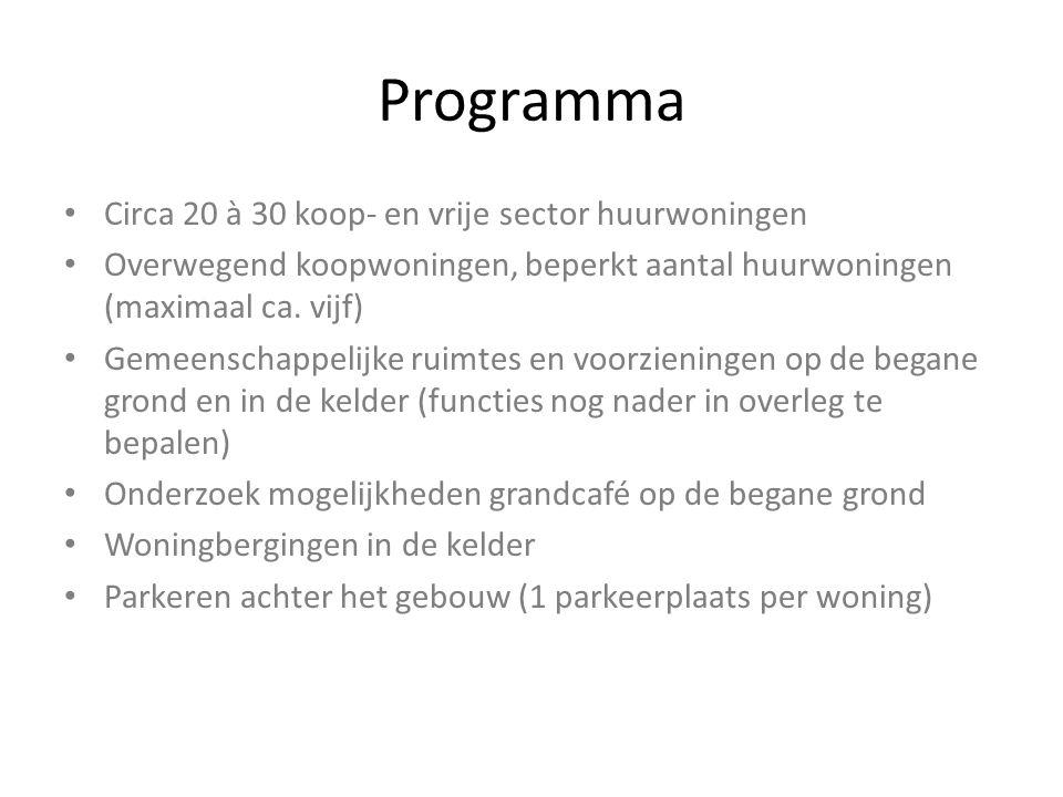 Programma Circa 20 à 30 koop- en vrije sector huurwoningen Overwegend koopwoningen, beperkt aantal huurwoningen (maximaal ca. vijf) Gemeenschappelijke