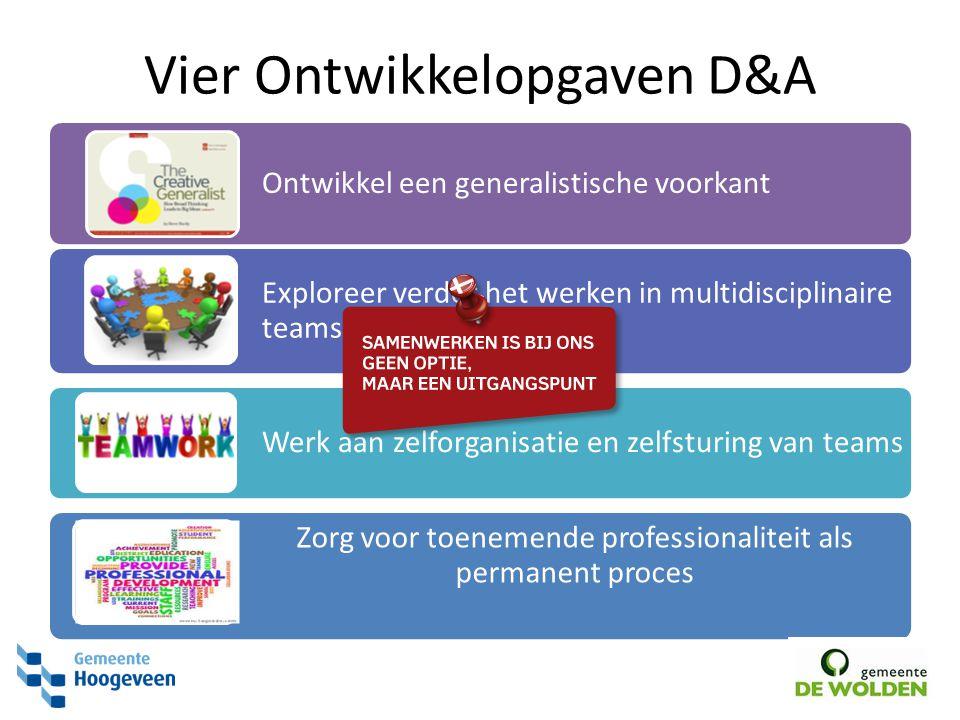 Vier Ontwikkelopgaven D&A Ontwikkel een generalistische voorkant Exploreer verder het werken in multidisciplinaire teams Werk aan zelforganisatie en z