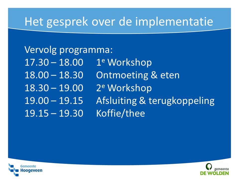 Het gesprek over de implementatie Vervolg programma: 17.30 – 18.001 e Workshop 18.00 – 18.30 Ontmoeting & eten 18.30 – 19.002 e Workshop 19.00 – 19.15