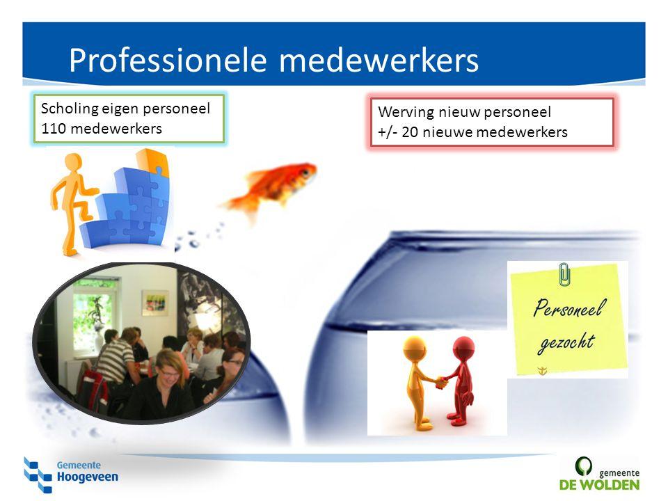 Professionele medewerkers Werving nieuw personeel +/- 20 nieuwe medewerkers Scholing eigen personeel 110 medewerkers