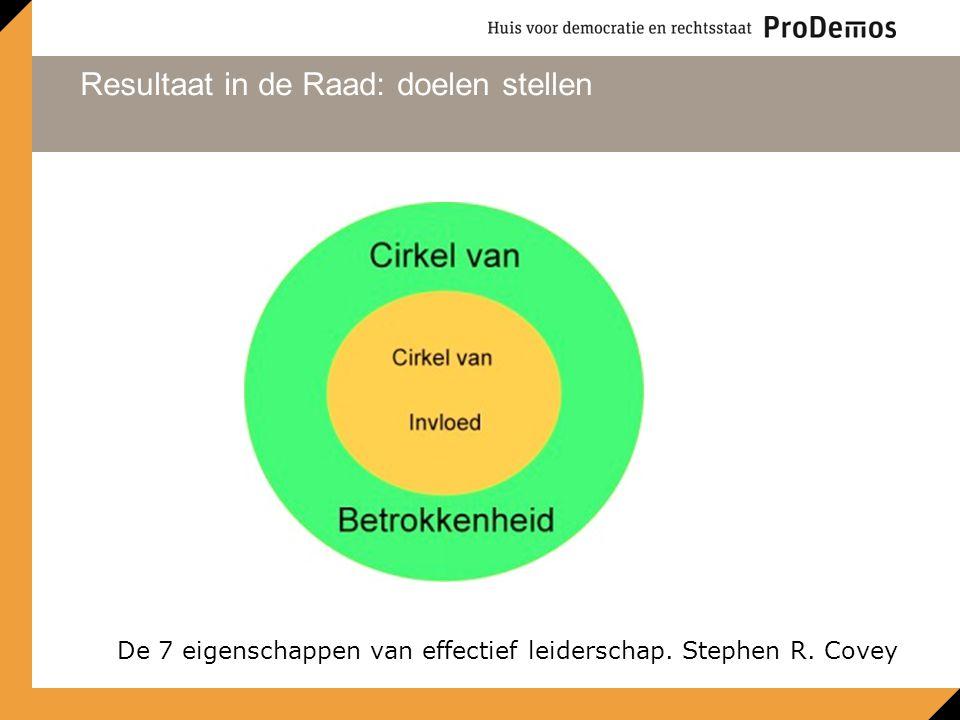 Resultaat in de Raad: doelen stellen De 7 eigenschappen van effectief leiderschap. Stephen R. Covey
