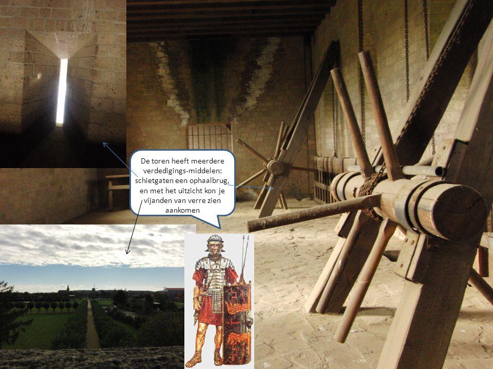 De toren heeft meerdere verdedigings-middelen: schietgaten een ophaalbrug, en met het uitzicht kon je vijanden van verre zien aankomen