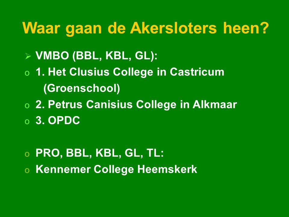 Waar gaan de Akersloters heen?  VMBO (BBL, KBL, GL): o 1. Het Clusius College in Castricum (Groenschool) o 2. Petrus Canisius College in Alkmaar o 3.
