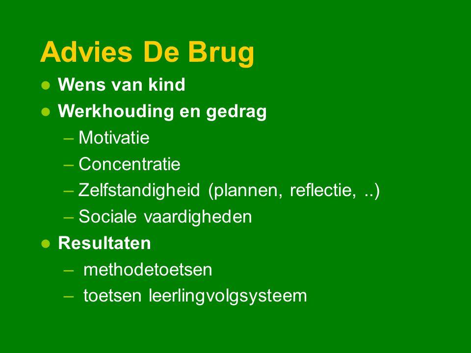 Advies De Brug Wens van kind Werkhouding en gedrag –Motivatie –Concentratie –Zelfstandigheid (plannen, reflectie,..) –Sociale vaardigheden Resultaten