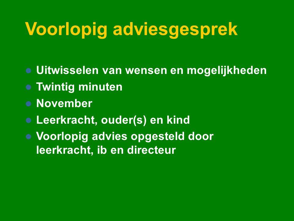 Voorlopig adviesgesprek Uitwisselen van wensen en mogelijkheden Twintig minuten November Leerkracht, ouder(s) en kind Voorlopig advies opgesteld door