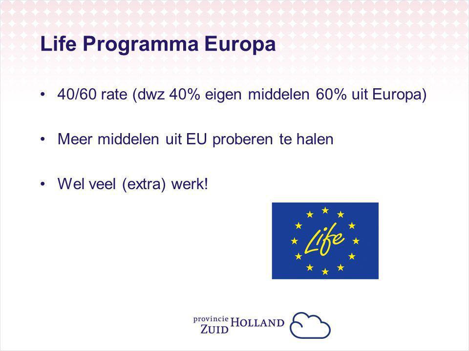 Life Programma Europa 40/60 rate (dwz 40% eigen middelen 60% uit Europa) Meer middelen uit EU proberen te halen Wel veel (extra) werk!