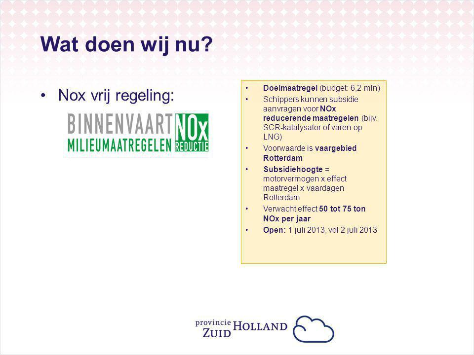 Wat doen wij nu? Nox vrij regeling: Doelmaatregel (budget: 6,2 mln) Schippers kunnen subsidie aanvragen voor NOx reducerende maatregelen (bijv. SCR-ka