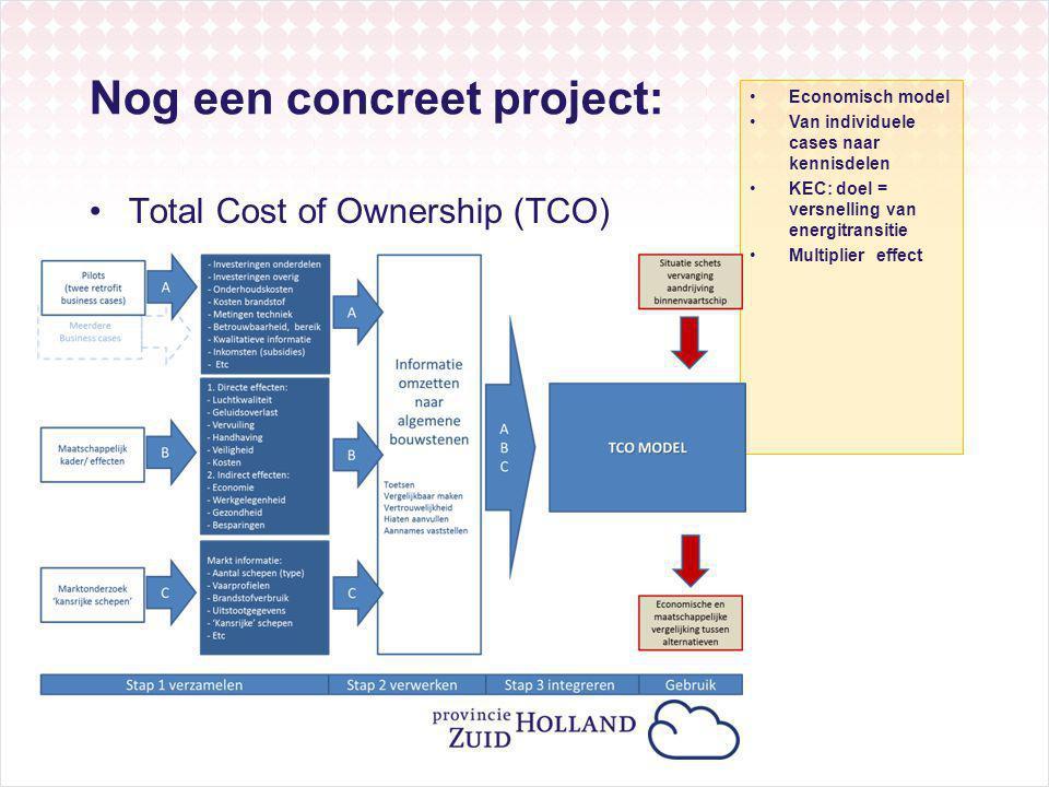 Nog een concreet project: Total Cost of Ownership (TCO) Economisch model Van individuele cases naar kennisdelen KEC: doel = versnelling van energitransitie Multiplier effect