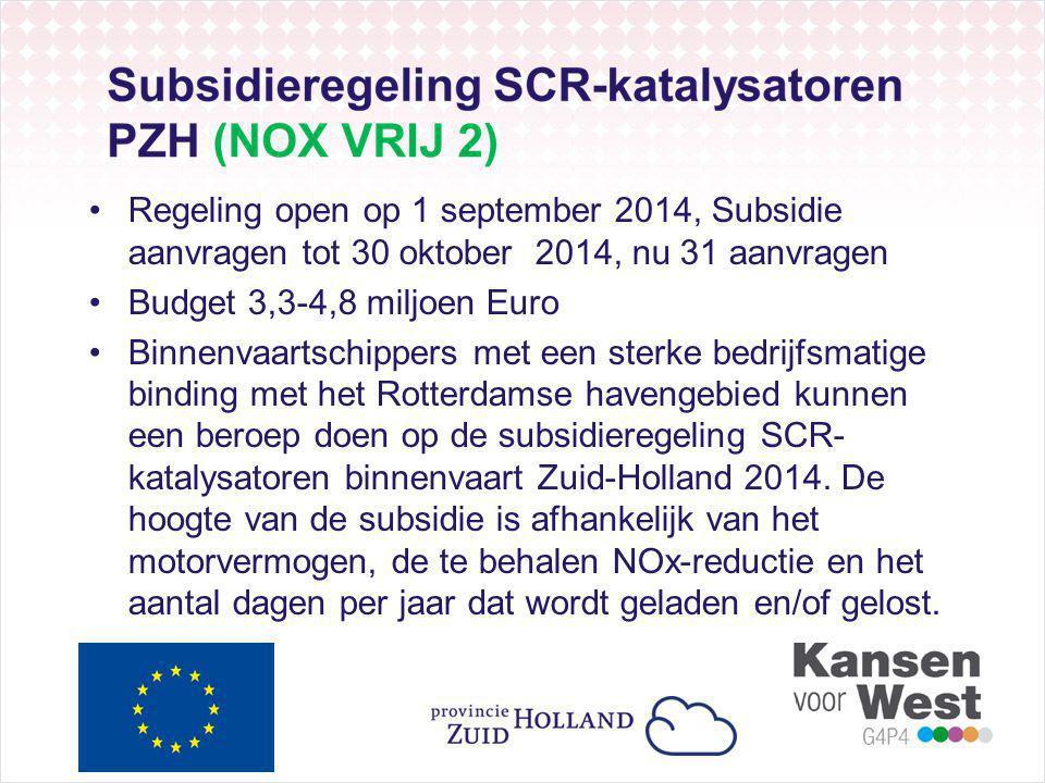 Regeling open op 1 september 2014, Subsidie aanvragen tot 30 oktober 2014, nu 31 aanvragen Budget 3,3-4,8 miljoen Euro Binnenvaartschippers met een sterke bedrijfsmatige binding met het Rotterdamse havengebied kunnen een beroep doen op de subsidieregeling SCR- katalysatoren binnenvaart Zuid-Holland 2014.