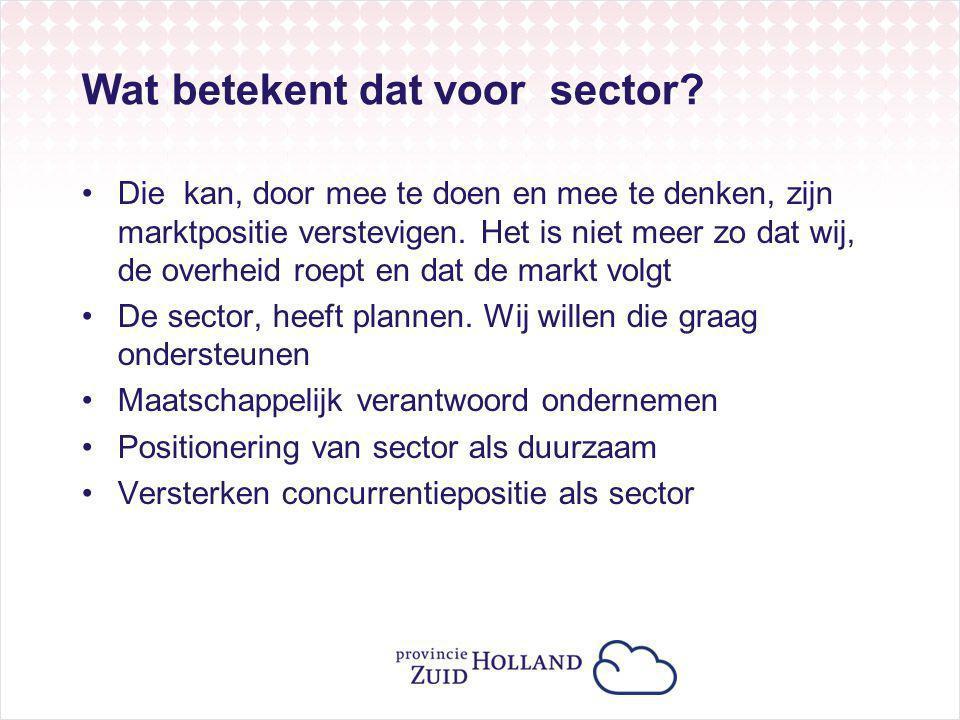 Wat betekent dat voor sector? Die kan, door mee te doen en mee te denken, zijn marktpositie verstevigen. Het is niet meer zo dat wij, de overheid roep
