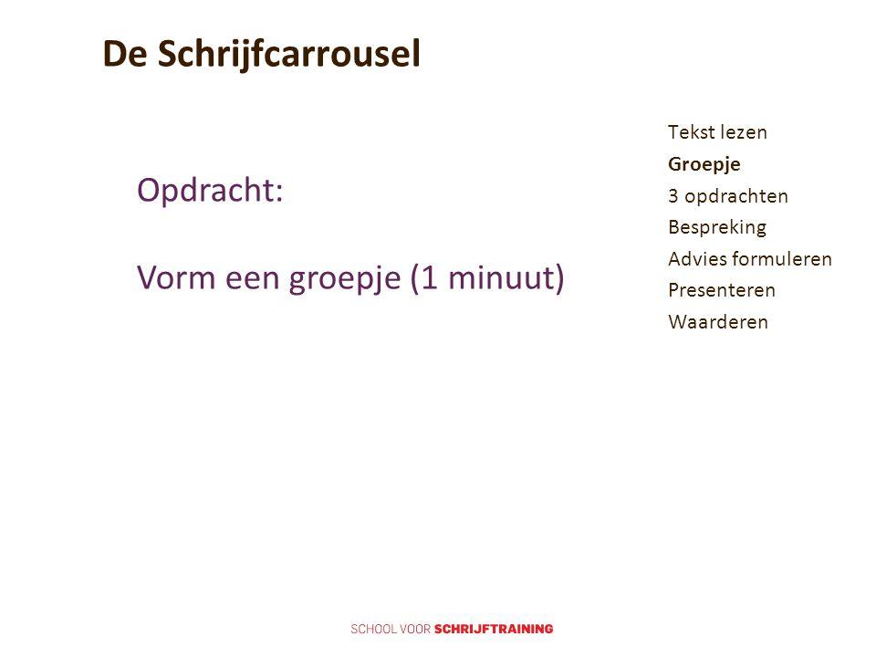 De Schrijfcarrousel Tekst lezen Groepje 3 opdrachten Bespreking Advies formuleren Presenteren Waarderen Opdracht: Vorm een groepje (1 minuut)