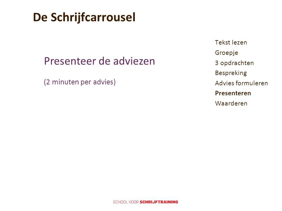 De Schrijfcarrousel Tekst lezen Groepje 3 opdrachten Bespreking Advies formuleren Presenteren Waarderen Presenteer de adviezen (2 minuten per advies)