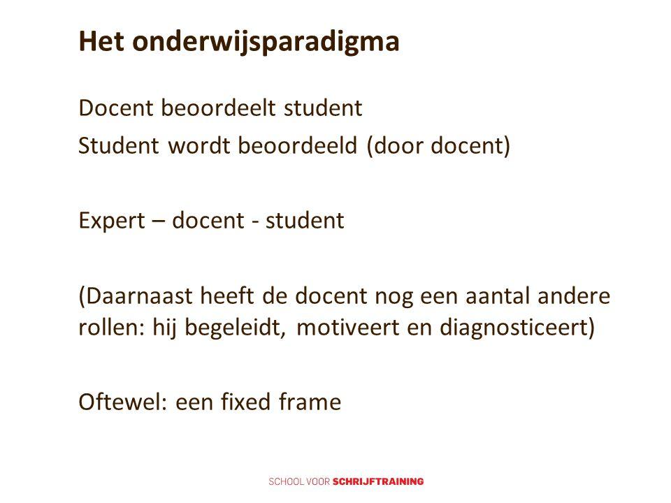 Het onderwijsparadigma Docent beoordeelt student Student wordt beoordeeld (door docent) Expert – docent - student (Daarnaast heeft de docent nog een a