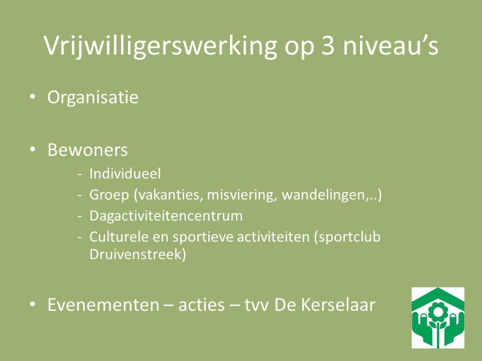 Vrijwilligerswerking op 3 niveau's Organisatie Bewoners -Individueel -Groep (vakanties, misviering, wandelingen,..) -Dagactiviteitencentrum -Culturele