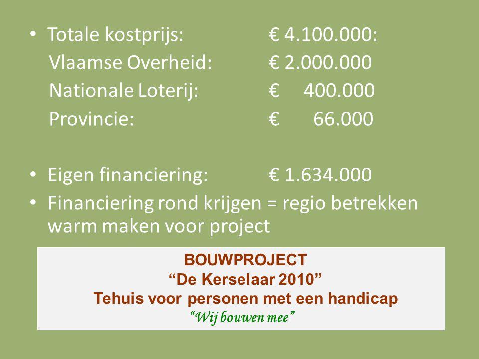 Totale kostprijs: € 4.100.000: Vlaamse Overheid: € 2.000.000 Nationale Loterij: € 400.000 Provincie: € 66.000 Eigen financiering: € 1.634.000 Financie