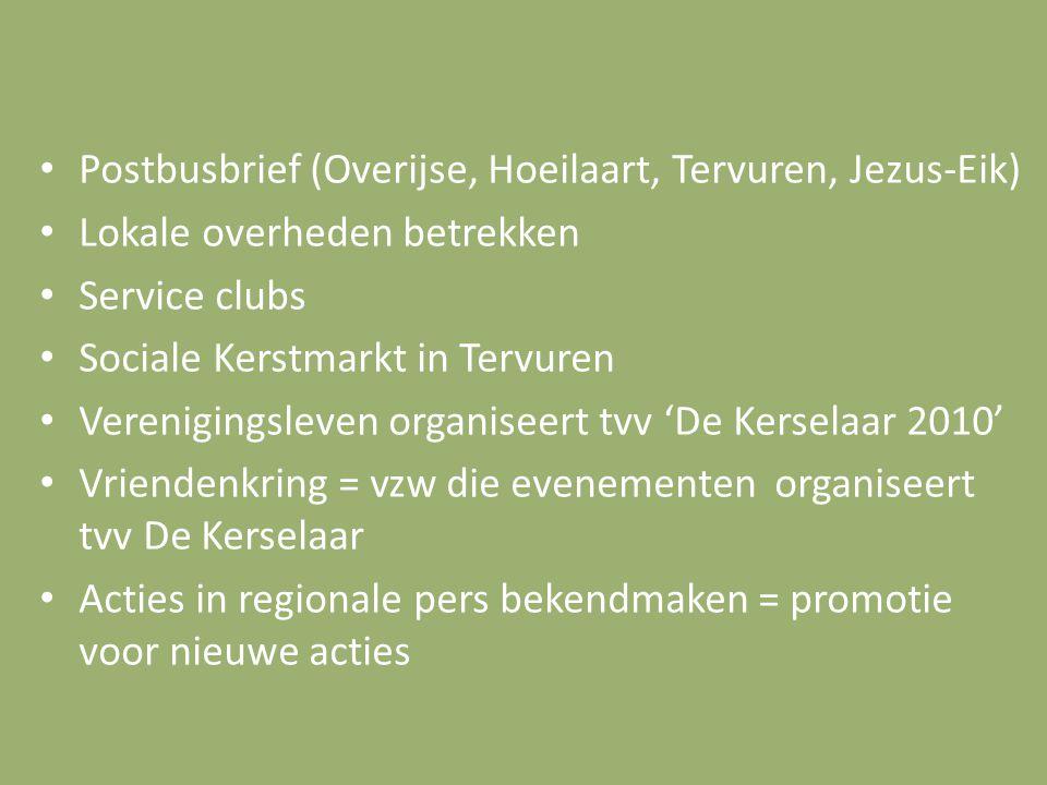 Postbusbrief (Overijse, Hoeilaart, Tervuren, Jezus-Eik) Lokale overheden betrekken Service clubs Sociale Kerstmarkt in Tervuren Verenigingsleven organ