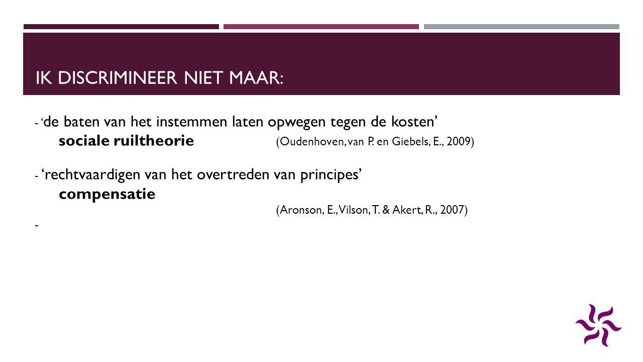 IK DISCRIMINEER NIET MAAR: - ' de baten van het instemmen laten opwegen tegen de kosten' sociale ruiltheorie (Oudenhoven, van P. en Giebels, E., 2009)