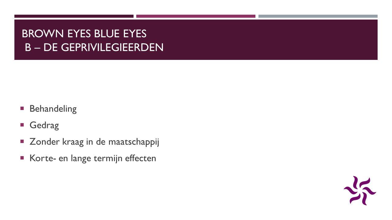 BROWN EYES BLUE EYES B – DE GEPRIVILEGIEERDEN  Behandeling  Gedrag  Zonder kraag in de maatschappij  Korte- en lange termijn effecten