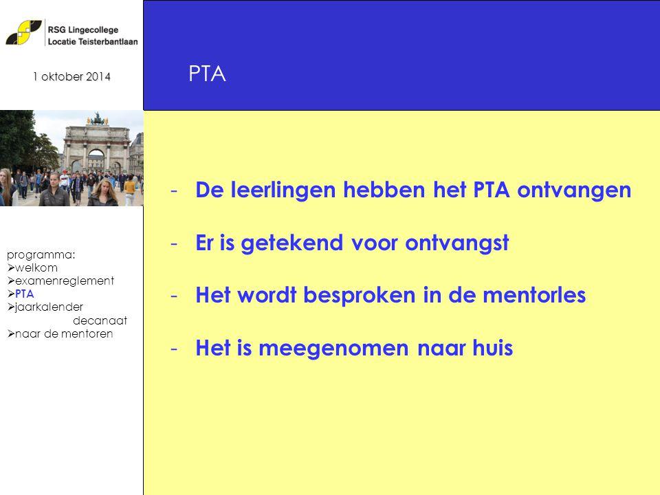 15 - De leerlingen hebben het PTA ontvangen - Er is getekend voor ontvangst - Het wordt besproken in de mentorles - Het is meegenomen naar huis PTA 1 oktober 2014 programma:  welkom  examenreglement  PTA  jaarkalender decanaat  naar de mentoren