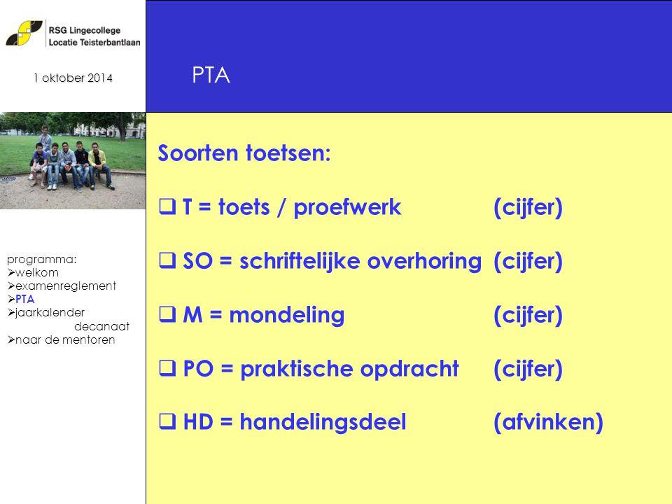 17 Soorten toetsen:  T = toets / proefwerk(cijfer)  SO = schriftelijke overhoring(cijfer)  M = mondeling(cijfer)  PO = praktische opdracht(cijfer)  HD = handelingsdeel(afvinken) PTA 1 oktober 2014 programma:  welkom  examenreglement  PTA  jaarkalender decanaat  naar de mentoren