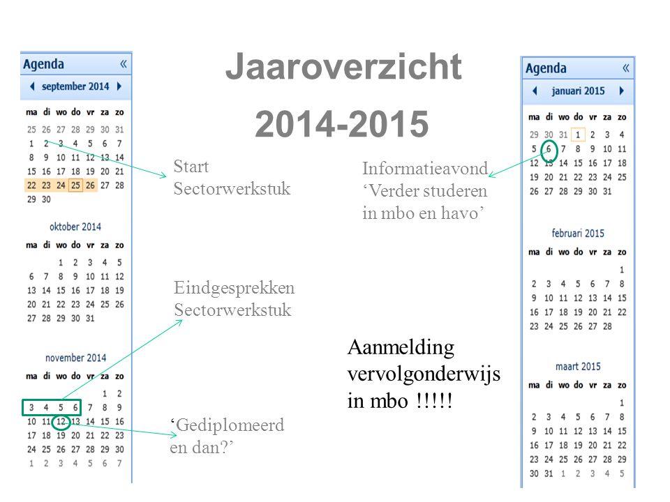 Jaaroverzicht 2014-2015 Start Sectorwerkstuk 'Gediplomeerd en dan ' Eindgesprekken Sectorwerkstuk Informatieavond 'Verder studeren in mbo en havo' Aanmelding vervolgonderwijs in mbo !!!!!