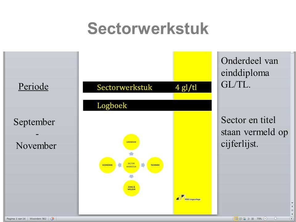 Sectorwerkstuk Periode September - November Onderdeel van einddiploma GL/TL.