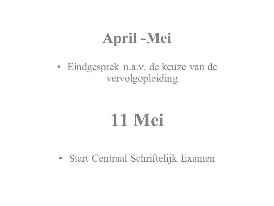 April -Mei Eindgesprek n.a.v.