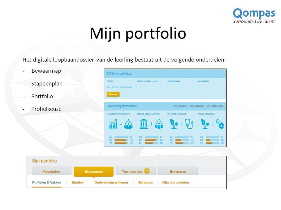 Mijn portfolio Het digitale loopbaandossier van de leerling bestaat uit de volgende onderdelen: - Bewaarmap -Stappenplan -Portfolio -Profielkeuze