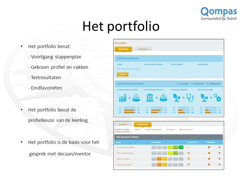 Qompas DecanenNet Via dit volgsysteem hebben decaan/mentor eenvoudig inzicht in de vorderingen van de leerlingen: -Het stappenplan -De bewaarmap -Het portfolio -Het gekozen profiel