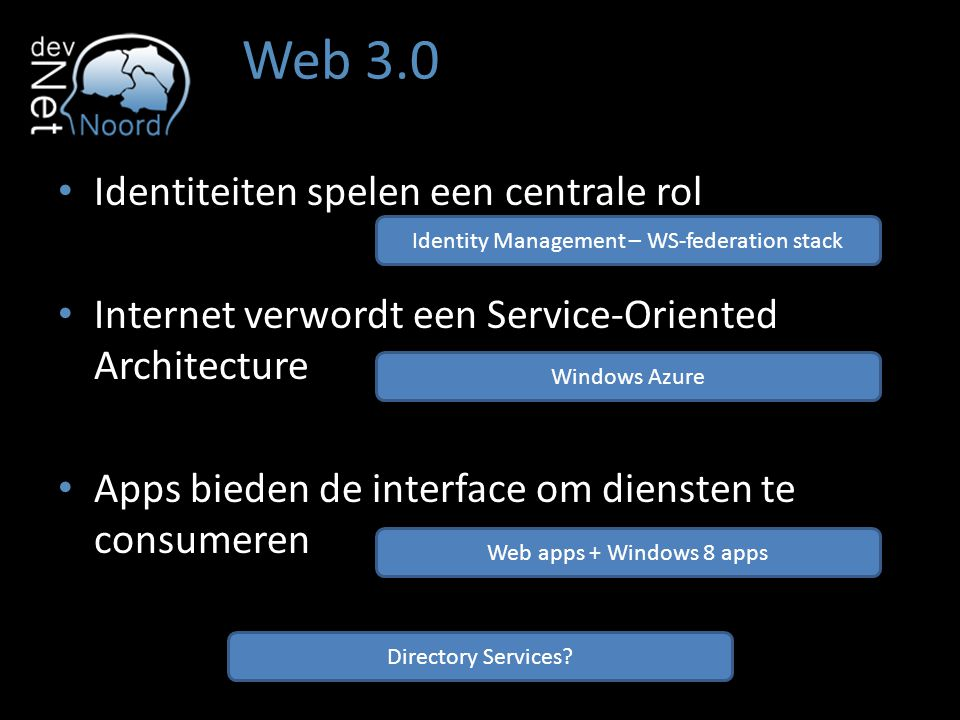 Web 3.0 Identiteiten spelen een centrale rol Internet verwordt een Service-Oriented Architecture Apps bieden de interface om diensten te consumeren Id