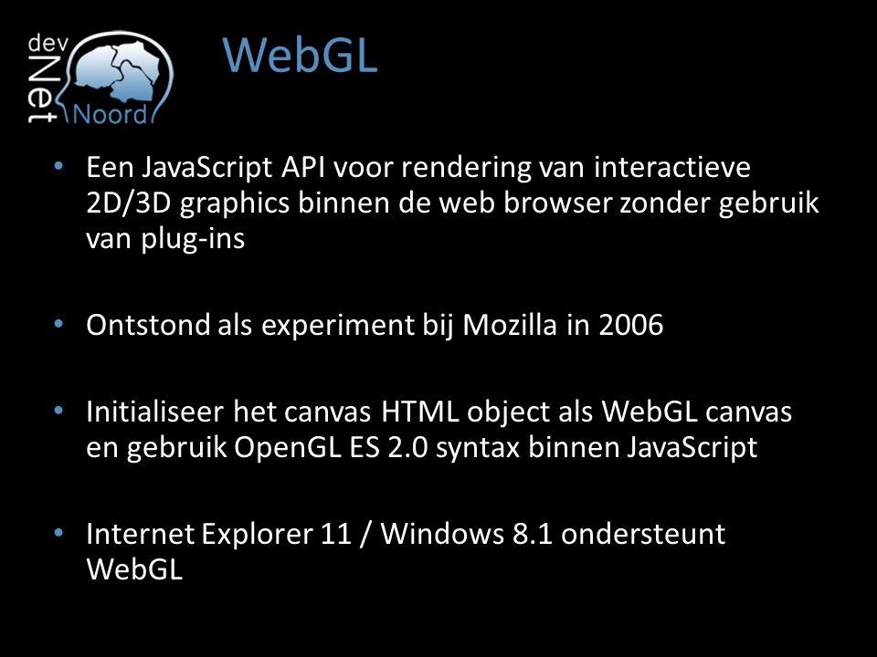 WebGL Een JavaScript API voor rendering van interactieve 2D/3D graphics binnen de web browser zonder gebruik van plug-ins Ontstond als experiment bij