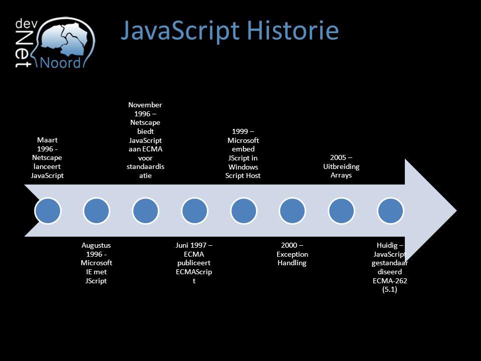 JavaScript Historie Maart 1996 - Netscape lanceert JavaScript Augustus 1996 - Microsoft IE met JScript November 1996 – Netscape biedt JavaScript aan E