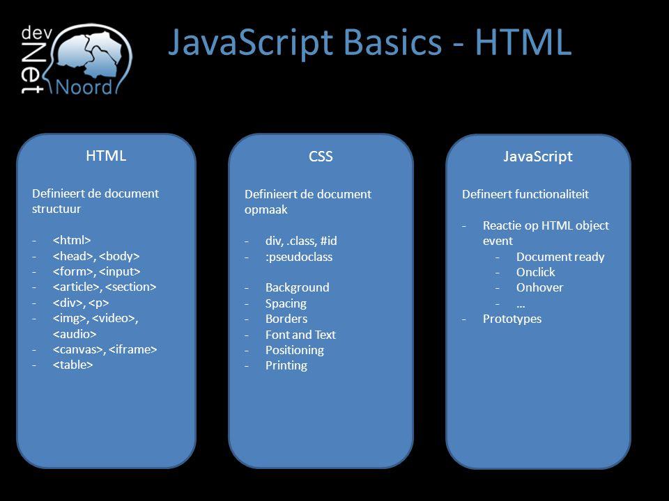 JavaScript Basics - HTML HTML Definieert de document structuur - -, -,, -, - CSS Definieert de document opmaak -div,.class, #id -:pseudoclass -Backgro