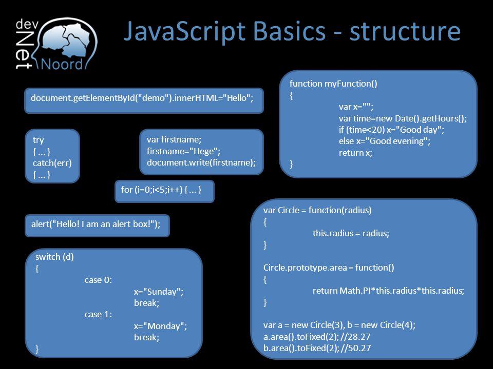 JavaScript Basics - JSON JSON staat voor JavaScript Object Notatie Het wordt veel gebruikt om objecten van een back-end (WCF services, ASMX services, …) naar front-end (AJAX) te sturen.