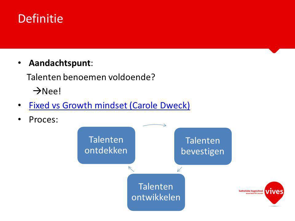 Aandachtspunt: Talenten benoemen voldoende?  Nee! Fixed vs Growth mindset (Carole Dweck) Proces: Definitie Talenten bevestigen Talenten ontwikkelen T