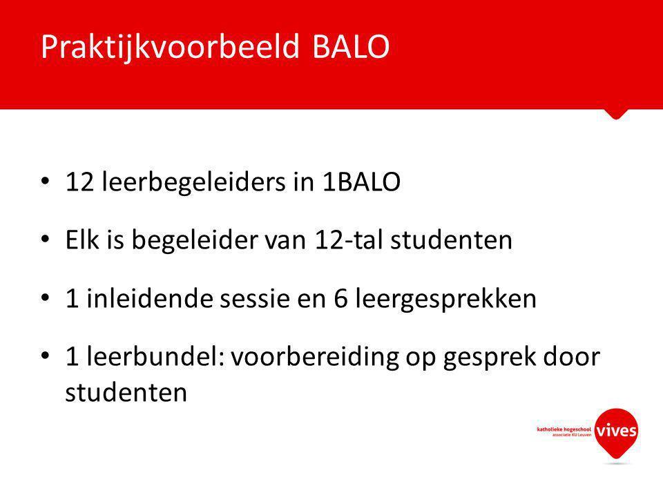 12 leerbegeleiders in 1BALO Elk is begeleider van 12-tal studenten 1 inleidende sessie en 6 leergesprekken 1 leerbundel: voorbereiding op gesprek door studenten Praktijkvoorbeeld BALO