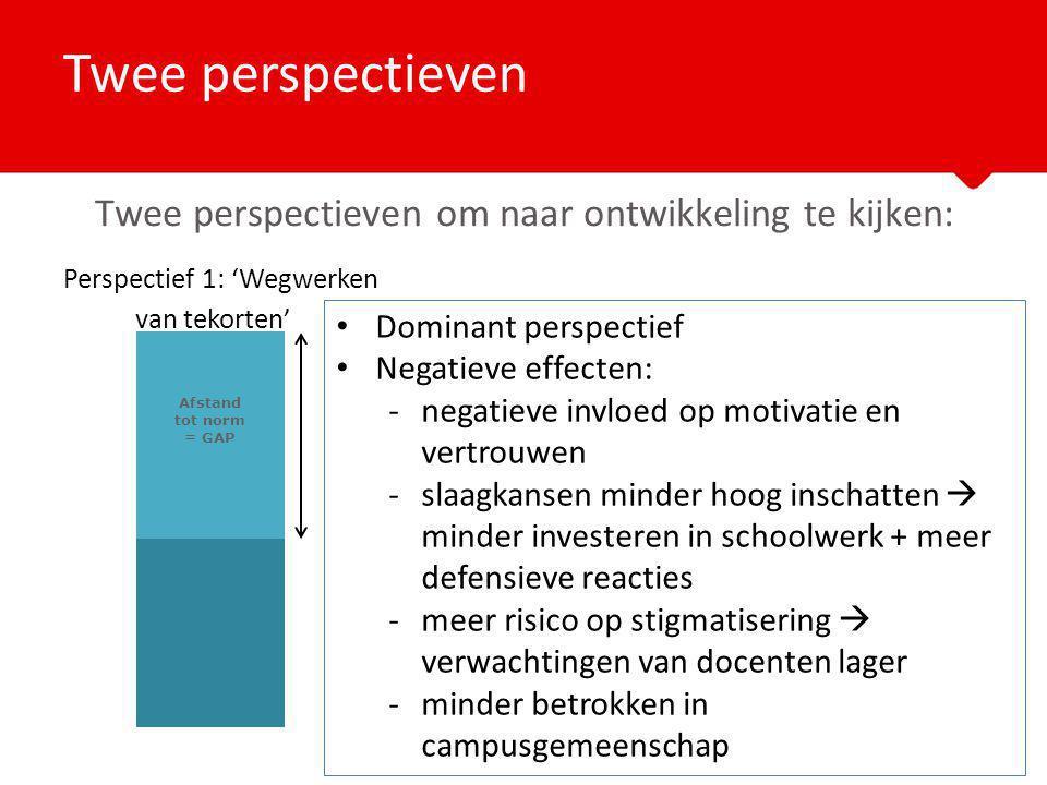 Perspectief 1: 'Wegwerken van tekorten' Twee perspectieven Afstand tot norm = GAP Twee perspectieven om naar ontwikkeling te kijken: Dominant perspect