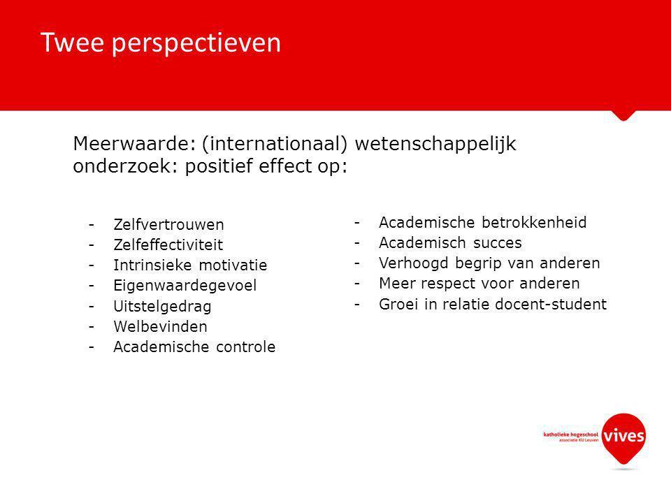 Twee perspectieven Meerwaarde: (internationaal) wetenschappelijk onderzoek: positief effect op: -Zelfvertrouwen -Zelfeffectiviteit -Intrinsieke motivatie -Eigenwaardegevoel -Uitstelgedrag -Welbevinden -Academische controle -Academische betrokkenheid -Academisch succes -Verhoogd begrip van anderen -Meer respect voor anderen -Groei in relatie docent-student