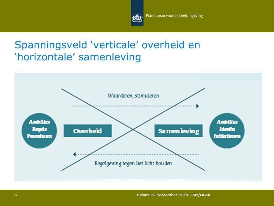 Spanningsveld 'verticale' overheid en 'horizontale' samenleving Balans 22 september 2014 I&M/DGMI 5