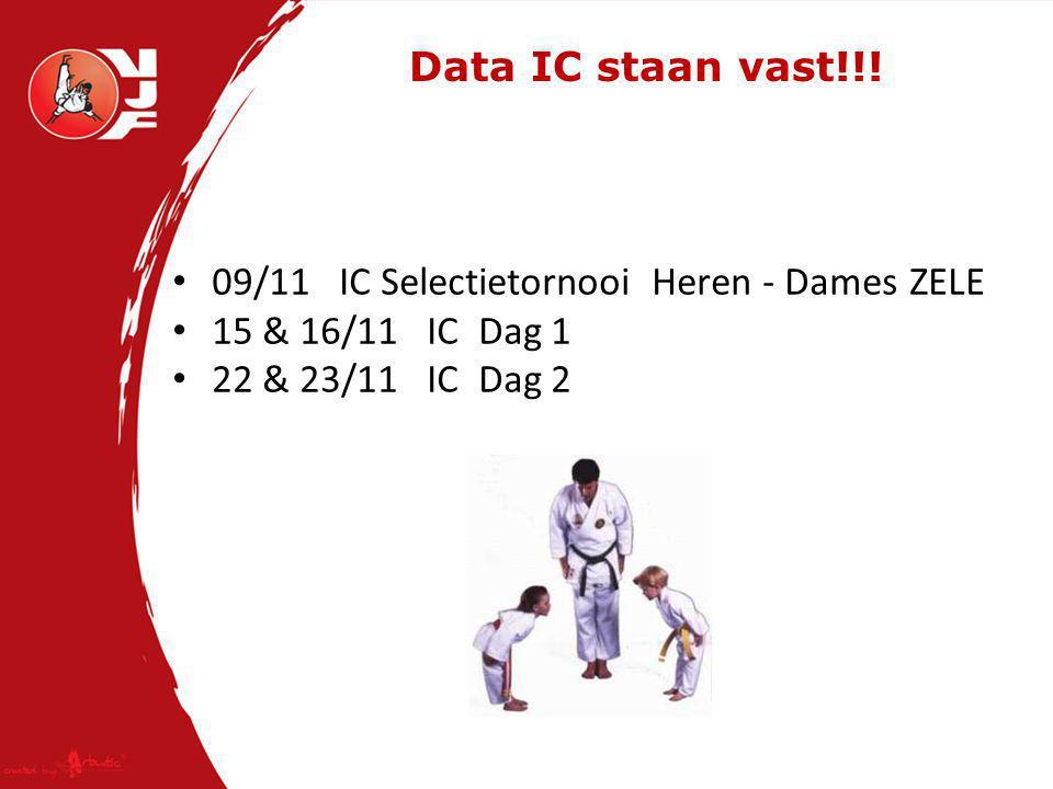 Data IC staan vast!!! 09/11 IC Selectietornooi Heren - DamesZELE 15 & 16/11 IC Dag 1 22 & 23/11 IC Dag 2