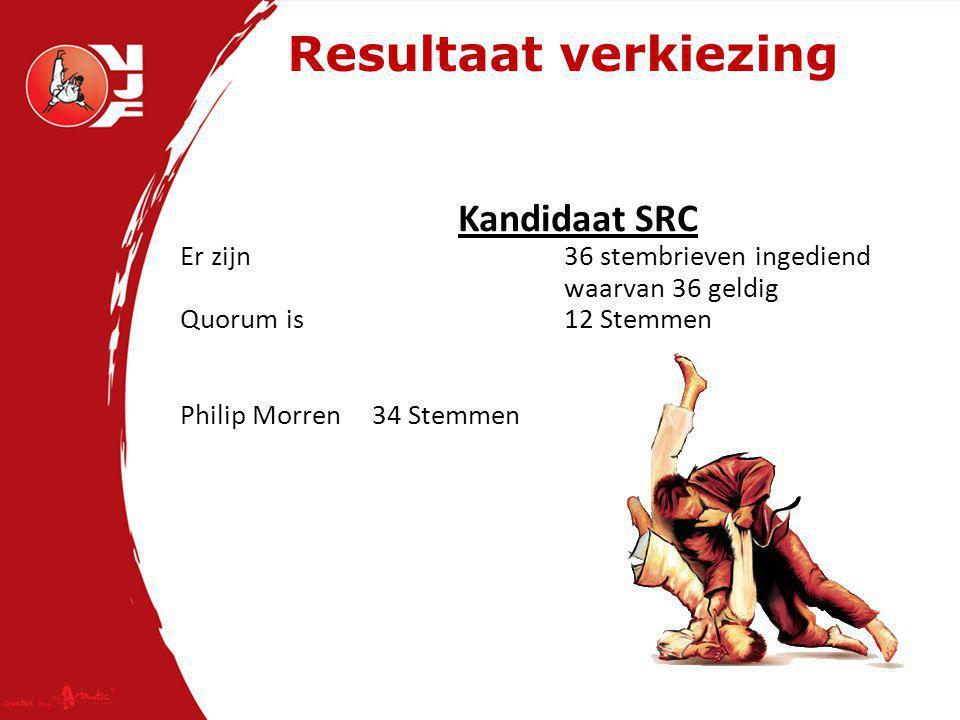 Resultaat verkiezing Kandidaat SRC Er zijn 36 stembrieven ingediend waarvan 36 geldig Quorum is 12 Stemmen Philip Morren34 Stemmen