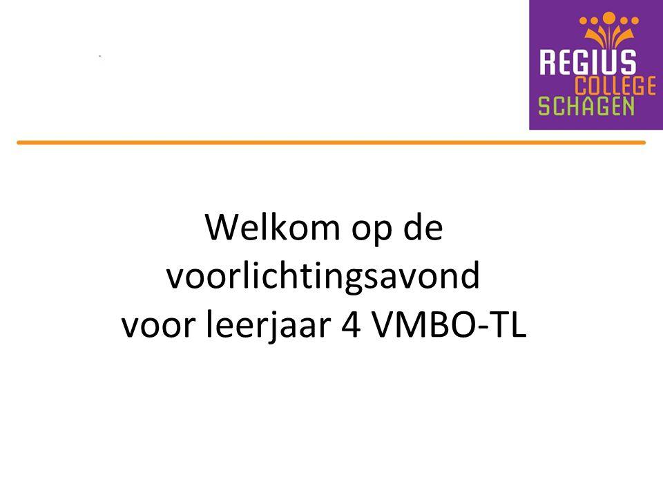 Welkom op de voorlichtingsavond voor leerjaar 4 VMBO-TL